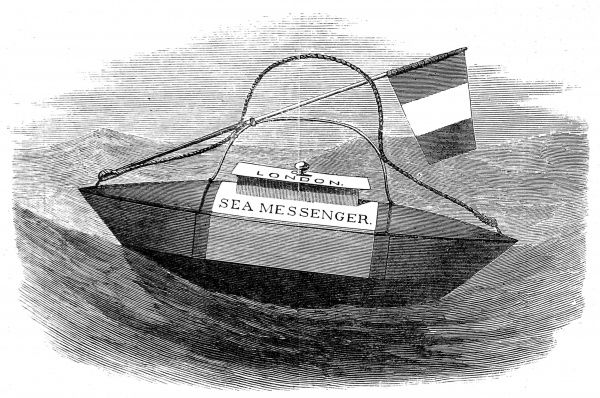 Engraving of the 'Sea Messenger', a lifeboat designed for ships letters and papers, invented by J.A.R. Vandenbergh. As many ships carried mail and state papers, there was always a chance that vitally important paperwork could be lost in a shipwreck