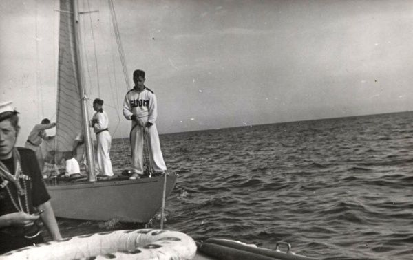 Sea Scout assisting with the sailing competitions during the 1948 Olympics. 1948