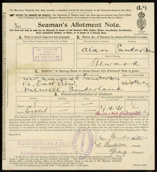 A seaman's allotment note by which a mother has sent money to her son aboard his ship Inverness