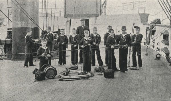 Boys taking part in a seamanship class on the Training Ship Wellesley, on the River Tyne at North Shields, Northumberland