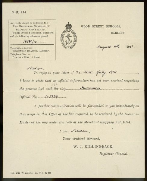 A letter informing a mother that there is still no news about her son, since his ship Inverness was sunk one month ago by the enemy. He is presumed drowned