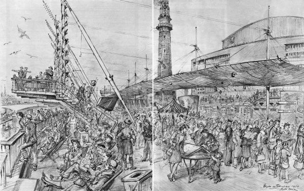 An artist's impression of the Seaside section of the Festival of Britain site on the South Bank, London. Showing people enjoying the various attractions, including peep shows, rock making and fishing nets, while others are content to sit in deckchairs