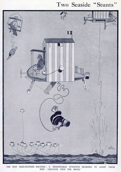 The new Aero-Bathing Machine: A remarkable invention to assist those who - hesitate upon the brink. Please note: Credit must appear as Courtesy of the Estate of Mrs J.C.Robinson/Pollinger Ltd/ILN/Mary Evans