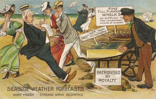 Seaside Weather Forecasts - Very Fresh - Strong Wind Blowing Some rather strong-smelling Fish causes a group of beachgoers to be blown-away by the asault of the pungent aroma encountered!! Date: circa 1909