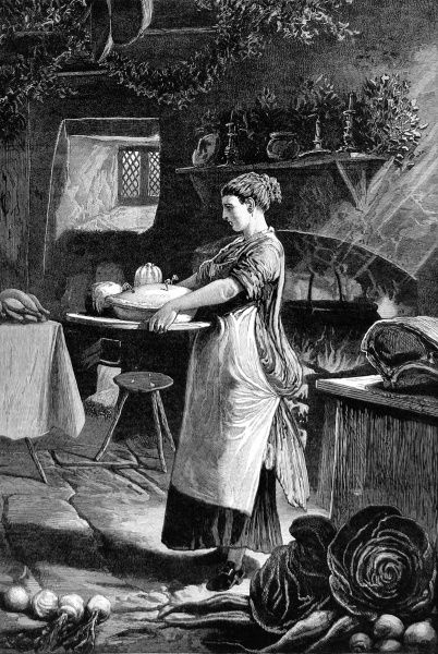 Seasonal illustration showing a woman in a cottage, or a kitchen of a bigger house, carrying a pie, pudding and cheese