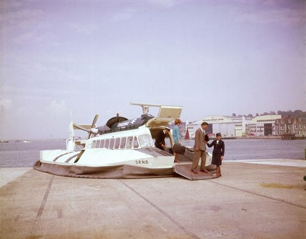 The Seaspeed Hovercraft which ferries passengers from the Isle of Wight to mainland England. Date: 1960s