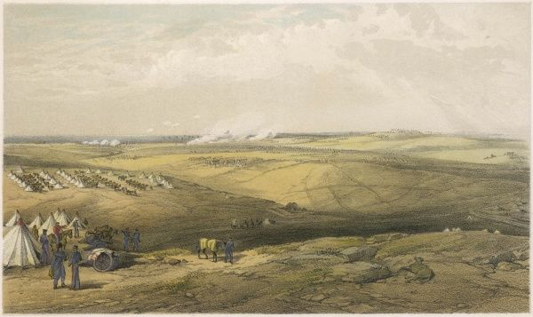 Distant view of Lord Raglan's headquarters before Sebastopol, and two British encampments