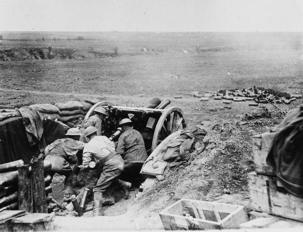 Australian soldiers loading an 18 pounder gun at the second Battle of Bullecourt (Battle of Arras) on the Western Front in France during World War I in May 1917