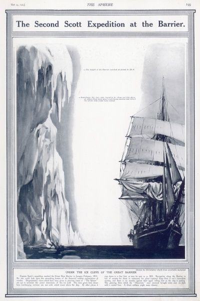 Captain Scott's expedition reached the Great Ross Barrier in January - February 1911 showing the immense height of the ice barrier, which in some places reached to 280 feet compared to the Terra Nova