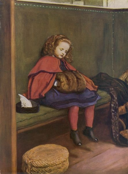 The second of two sentimental pictures by the pre-Raphaelite painter John Everett Millais (1829-1896) showing a little girl dressed in a red cape and fur muff dozing off to sleep during a particularly long church sermon
