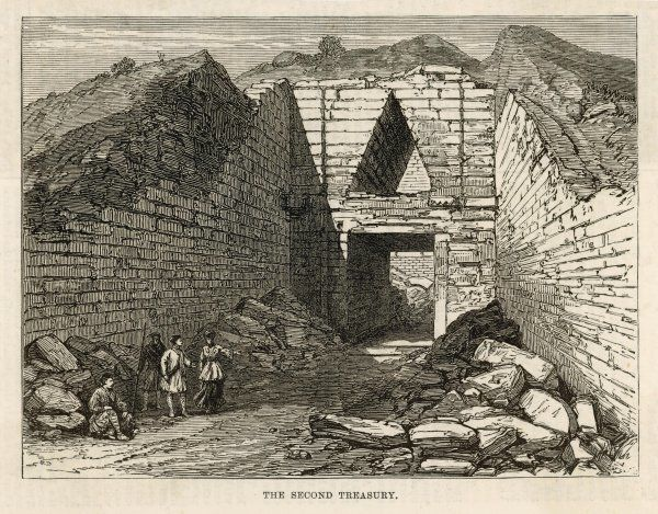 The Second Treasury at Mycenae. The building is in fact a Tholos tomb, with a ashlar walls and corbelling over the door to decrease weight on the lintel stone