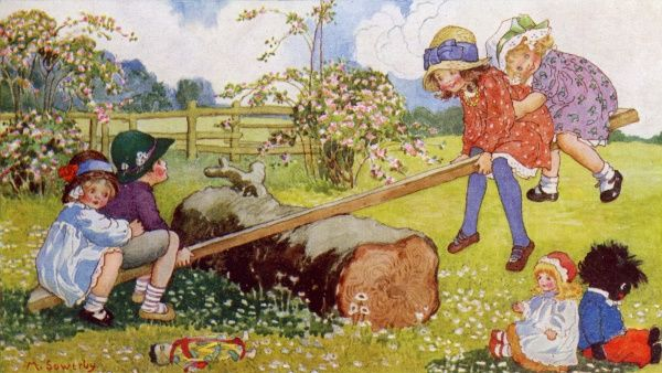 See-Saw. Artist: Millicent Sowerby. Happy children out in the country enjoying the traditional game Date: 1915