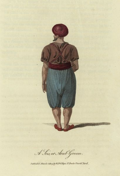 A Seis or Arab Groom, seen from the rear. He is wearing a red turban and baggy knee-length trousers. 1803
