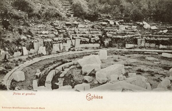 Selcuk, Turkey - Ancient Ephesus - Slopes and Terraces of the Theatre Date: circa 1902