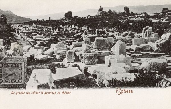 Selcuk, Turkey (Ancient Ephesus) - Ruins - Road between the Gymansium and the Theatre. Date: circa 1902