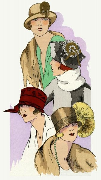A selection of four stylish autumn hats from the 1920s, designed by Georgette & Cie.  1924