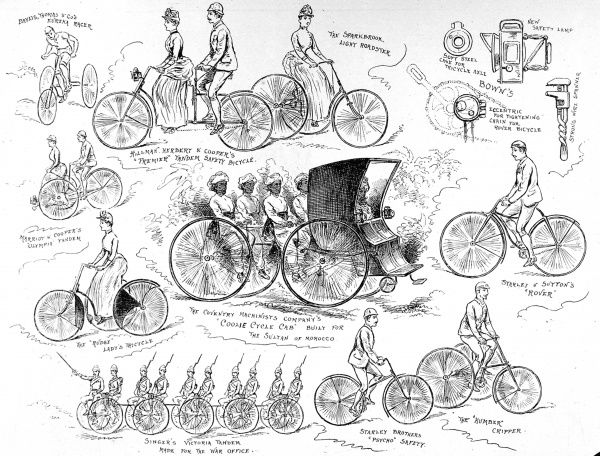 Engraving of a selection of bicycles on display at the Stanley Show of 1888