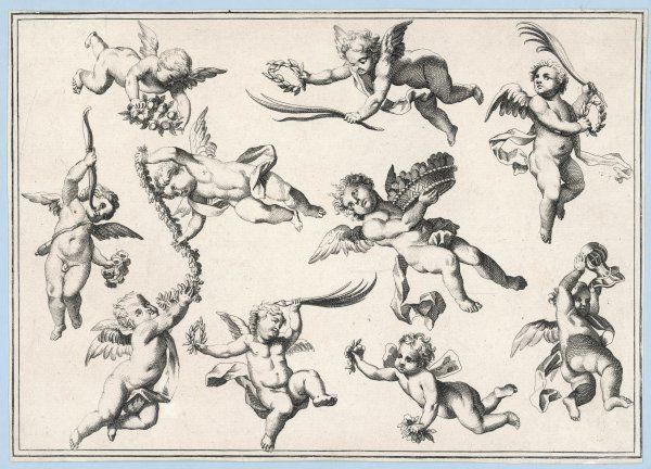 A selection of cherubs in various positions
