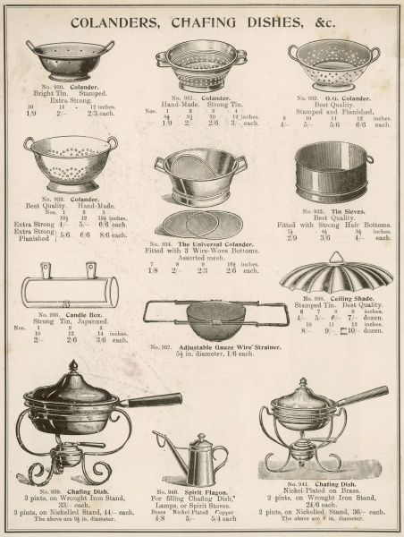 A selection of colanders, chafing dishes, sieves and strainers