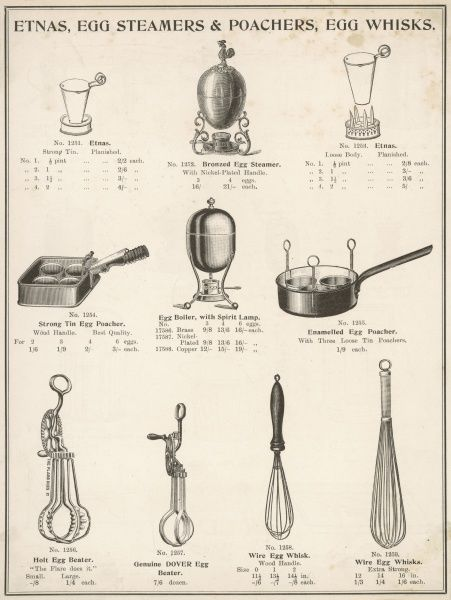 A selection of etnas,egg steamers, poachers and whisks