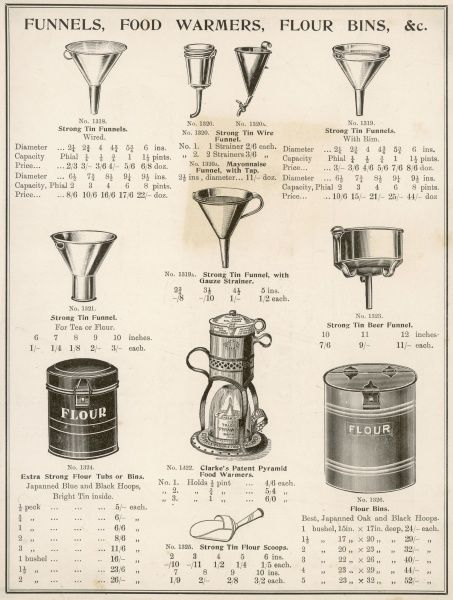 A selection of funnels, food warmers and flour bins. Date: circa 1900