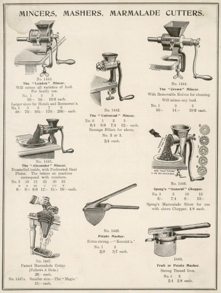 A selection of mincers,mashers and marmalade cutters