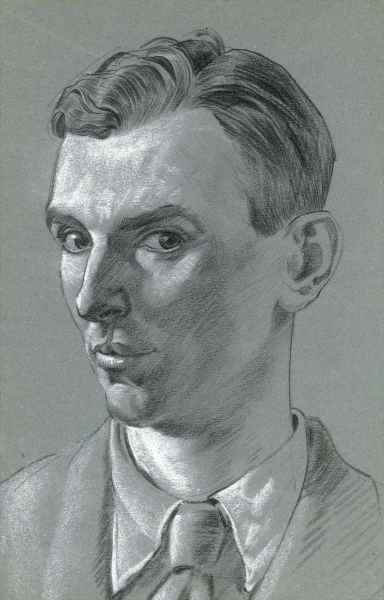 Raymond Sheppard - self portrait in pastel. Artist Raymond Sheppard (1913 - 1958) studied art at Bolt Court under S.G. Boxsius and in addition to exhibiting work at the R.A, R.I and R.S.A worked regularly for publications including Lilliput