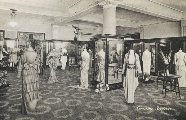 Selfridges & Co, Oxford Street, London - Costume Section. Founded by American-born retail magnate Harry Gordon Selfridge (1858 - 1947), the Flagship store in Oxford Street was opened in 1909. Selfridge was an innovator in the fields of marketing