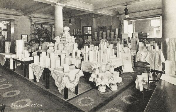 Selfridges & Co, Oxford Street, London - Linen Section. Founded by American-born retail magnate Harry Gordon Selfridge (1858 - 1947), the Flagship store in Oxford Street was opened in 1909. Selfridge was an innovator in the fields of marketing and advertising