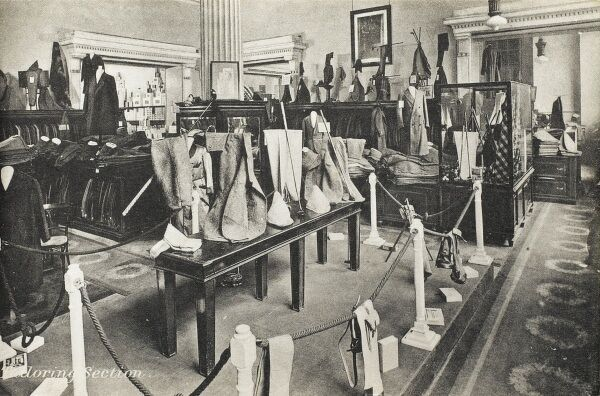Selfridges & Co, Oxford Street, London - Tailoring Section. Founded by American-born retail magnate Harry Gordon Selfridge (1858 - 1947), the Flagship store in Oxford Street was opened in 1909. Selfridge was an innovator in the fields of marketing