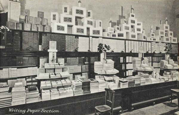 Selfridges & Co, Oxford Street, London - Writing Paper Section. Founded by American-born retail magnate Harry Gordon Selfridge (1858 - 1947), the Flagship store in Oxford Street was opened in 1909. Selfridge was an innovator in the fields of marketing