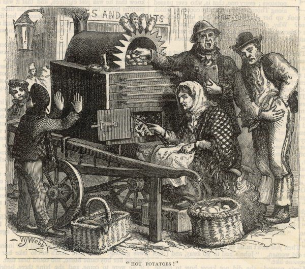 A woman wearing a shawl cooks potatoes to sell them hot on the street; a man digs in his pocket for some coins while a boy warms his hands on the side of the portable stove