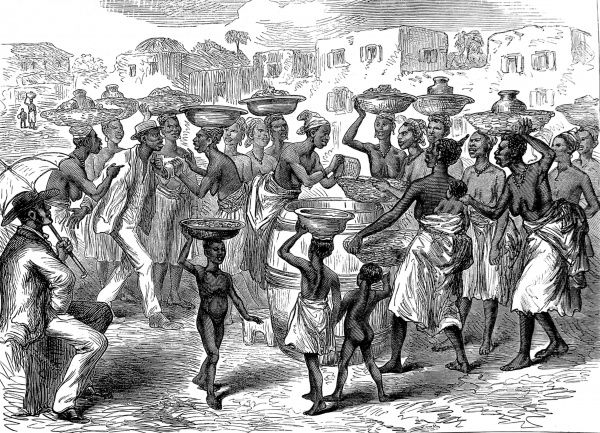 Natives selling Indian corn in the streets of Cape Coast Castle, headquarters of the British on the Gold Coast