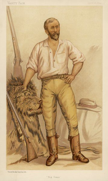 Frederick Selous (1851-1917), traveller and hunter in Africa, holds a lion head to show how intrepid a sportsman he is