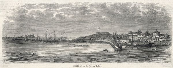 Visit from Colonel d'Arcy to Monsieur Faidherbe, Governor of Senegal, West Africa: view of the port of Dakar, with ships