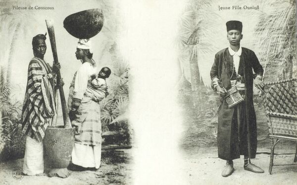 A Senegalese woman crushing chickpeas to make couscous using a huge pestle and mortar and a young man from the Ouoloff tribe, Senegal. Date: circa 1903