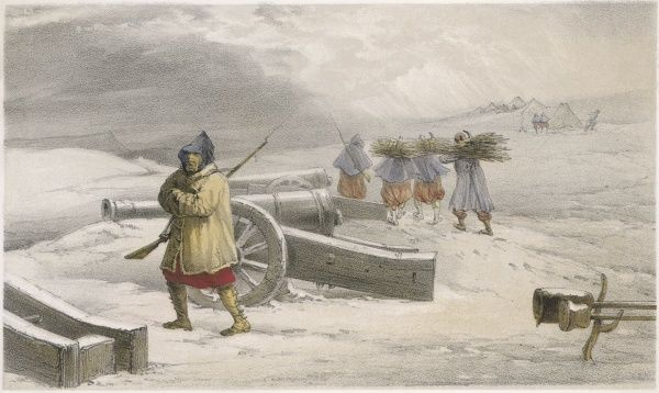 A sentinel of the Zouaves (French) before Sebastopol, while his colleagues forage for firewood - a scene evocative of the harsh conditions of the war