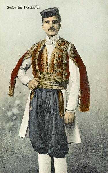 Serb man in Bosnia Herzegovina in traditional ceremonial costume