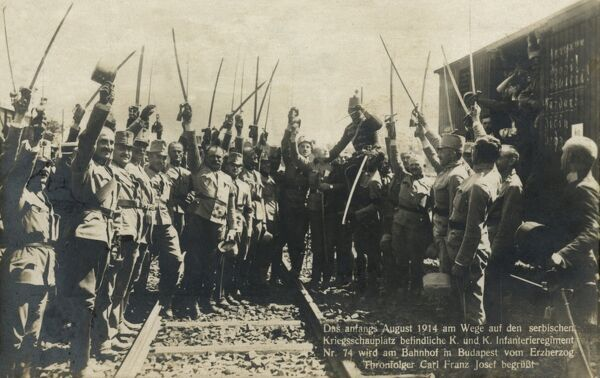Serbian Infantry Regiment at the Station in Budapest, Hungary in August 1914