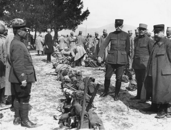 General Sorrail inspecting a newly landed Serbian's kit at Mikra, World War I