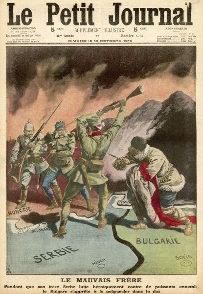 Serbs, fighting Germans and Austrians, are stabbed in the back by Bulgaria