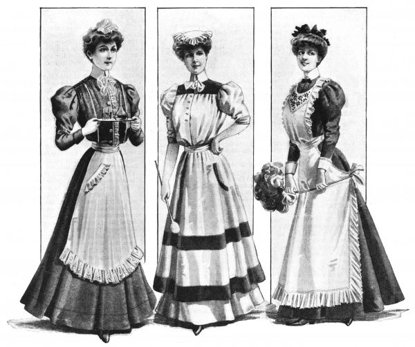 Appropriate clothing for a parlourmaid, a cook, and a housemaid Date: 1906