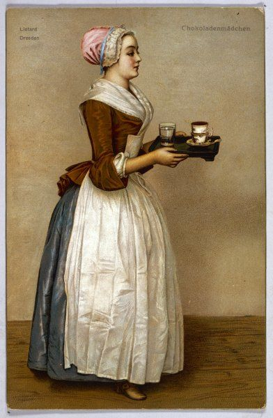 A serving maid carries a cup of chocolate and a glass of water on a tray