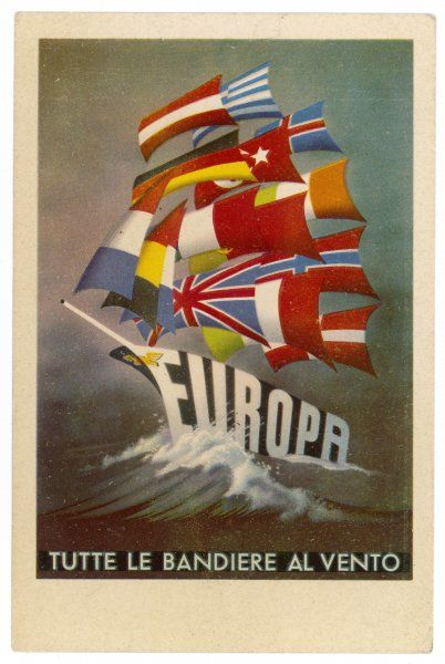 All sails set for a United Europe - the flags of the participating nations take the place of sails as the saucy 'Europa' heads into a future of peace and prosperity