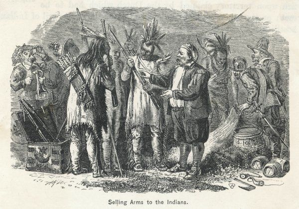 American settlers selling arms to the Native Americans