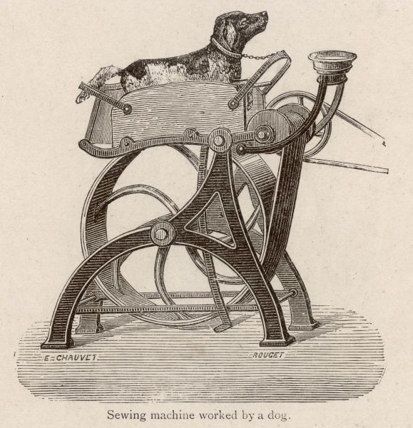 M Richard, a clothing manufacturer of Paris, uses a large number of these dog- powered motors to run his sewing machines (note the water bowl kindly provided)