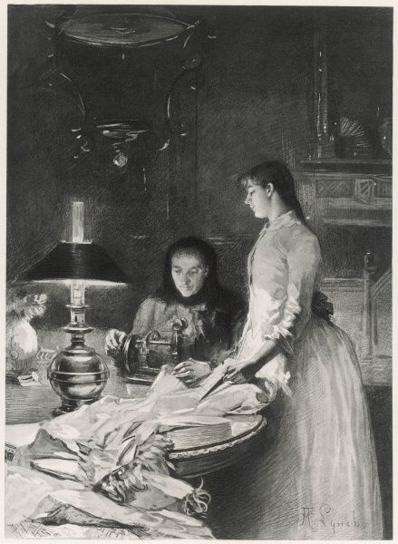 Woman using sewing machine lit only by the light of an oil lamp