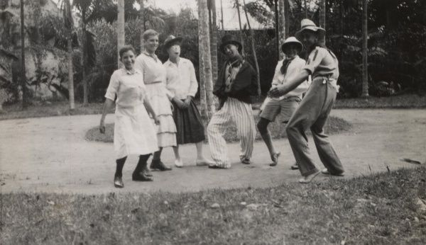 Seychelles Scouts dancing a local native dance.  circa 1920s-30s