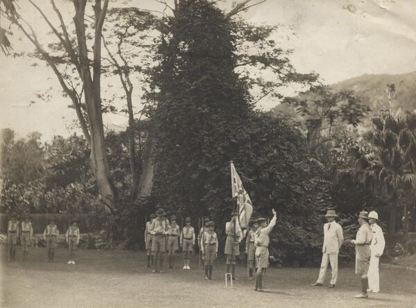 23 Scouts are sworn in before His Excellency de Symons Montagu George Honey C.M.G., Governor & Commander-in-Chief. Government House, Seychelles. 27 October 1928