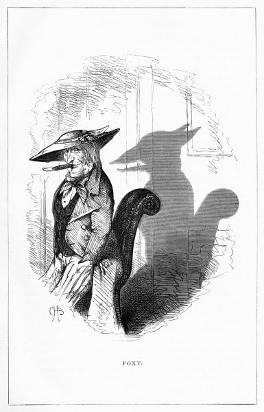 'Foxy' (Hickory P. Nutt Esq. of Connecticut, U.S.) Illustration from a series of shadow portraits of fictional characters by Charles H Bennett entitled Shadow and Substance, 1860